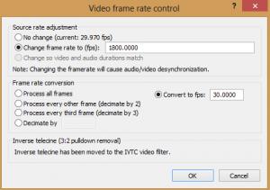Video -> Frame Rate... выставляем настройки